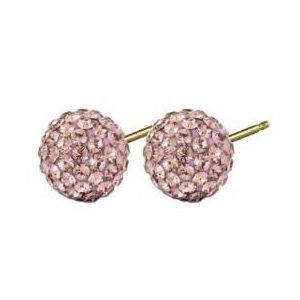 fashion earing glitter ball - rose 8mm