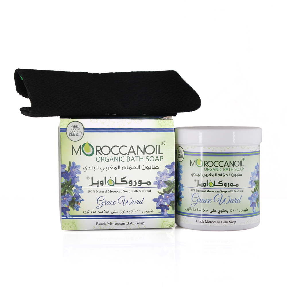 a natural black moroccan soap with grace ward 250 ml